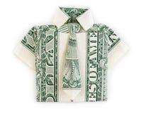 Isolerade dollarorigamiskjorta och band Royaltyfria Foton