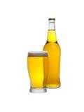 Isolerade exponeringsglas och flaska av äppeljuice Royaltyfri Bild