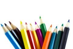 Isolerade färgglade blyertspennor Royaltyfria Foton