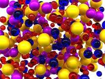 Isolerade färgrika glansiga orbs Arkivbild