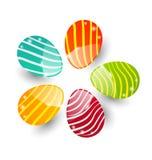 Isolerade fastställda färgrika dekorativa ägg för påsk Arkivbild