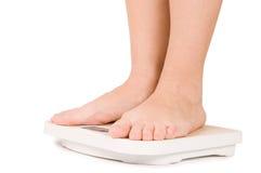 isolerade foten kvinnlig vita scales Royaltyfri Bild