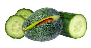 Isolerade frukter Ing för skönhetsmedel för skivor för avokadofrukt och gurka Royaltyfria Foton