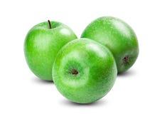 Isolerade gröna äpplen på vit bakgrund nytt Arkivbilder