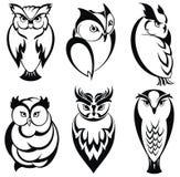 isolerade gullig olik sinnesrörelse för tecken owlseten vektor illustrationer