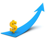 isolerade höga för dollar 3d framför upplösningssymbol vitt Arkivbild