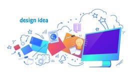Isolerade horisontal för begrepp för innovation för affär för dator för idé för grafisk design för rengöringsduk skissar online-k royaltyfri illustrationer