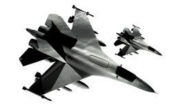 Isolerade jaktflygplan stock illustrationer