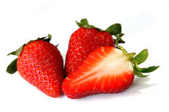 isolerade jordgubbar Royaltyfria Bilder