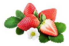 Isolerade jordgubbar med sidor Helhet och halv jordgubbe på vit med den snabba banan Royaltyfria Bilder