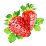 isolerade jordgubbar två Royaltyfri Fotografi