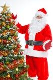 Isolerade jultomten och julgran Royaltyfri Foto