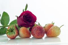 Isolerade körsbärsrött rött för jordgubbe på den vita isolaten, den främre sikten whit Royaltyfri Bild