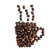 Isolerade kaffebönor gör samma koppbegrepp Arkivfoto