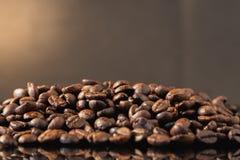 Isolerade kaffebönor reflekterade på yttersida för lyxig förnimmelse arkivbilder