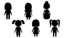 Isolerade konturer av flickor på en vit bakgrund Vektordiagram av folk klistermärkear för väggar Dockabarns leksak vektor illustrationer