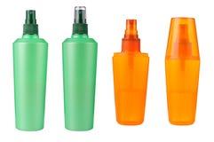 Isolerade kosmetiska flaskor Royaltyfria Bilder