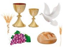 Isolerade kristna symboler: guld- bägare med vin, duva, druvor, bröd, öra av vete realistisk illustration 3d stock illustrationer