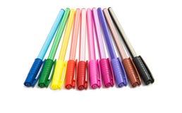 Isolerade kulöra pennor Fotografering för Bildbyråer