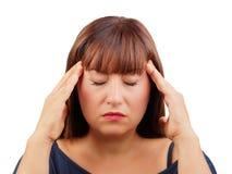 Isolerade kvinnahuvudvärk eller koncentrerad stående fotografering för bildbyråer