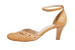 isolerade kvinnor för sko för läder s stilfulla vita Royaltyfri Foto