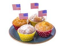 Isolerade läckra muffin på självständighetsdagen Royaltyfri Bild