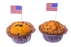 Isolerade läckra muffin på självständighetsdagen Royaltyfria Foton