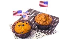 Isolerade läckra muffin på självständighetsdagen Arkivbild