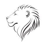 Isolerade lejon huvud, vektorillustration Profil för lejon` s stock illustrationer