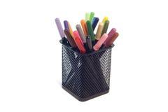 Isolerade lilla pennor för filtspetsmarkör Arkivbild