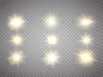 Isolerade ljuseffekter Solexponering med strålar och strålkastaren Royaltyfri Foto