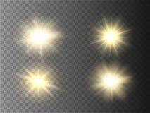 Isolerade ljuseffekter Solexponering med strålar och strålkastaren Arkivfoto