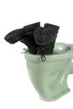 (Isolerade) mäns skor och ljusgröna toalett, Royaltyfri Fotografi