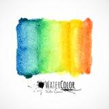 Isolerade målade ljusa färger för vattenfärgen banret Arkivfoton