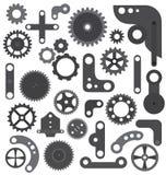 Isolerade mekanikerhjul och kugghjul Arkivbild