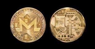 Isolerade Monero myntframdel och bank Fotografering för Bildbyråer