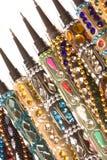 isolerade nepalese dekorativa pennor för makro Royaltyfria Foton