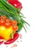 Isolerade nya säsongsbetonade grönsaker (med utrymme för text) Royaltyfria Foton