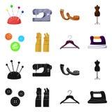 Isolerade objekt av hantverket och handcraft symbol Samling av hantverk- och branschmaterielsymbolet för rengöringsduk vektor illustrationer