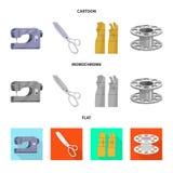 Isolerade objekt av hantverket och handcraft tecknet Samling av hantverk- och branschvektorsymbolen f?r materiel stock illustrationer