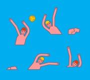 Isolerade objekt på vit bakgrund Idrottsman nenlekboll i vatten Sportar bevattnar lekar vektor illustrationer
