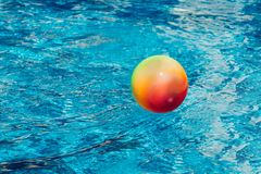 Isolerade objekt på vit bakgrund konkurrensar som dyker pölsportar som simmar vatten Boll som lämnas i simbassäng Royaltyfri Foto