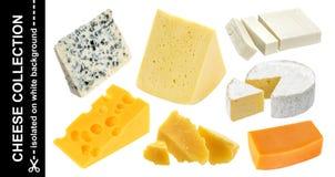 Isolerade olika typer av ost Cheddar parmesan, emmental, blå ost, camembert, feta på vit bakgrund royaltyfri fotografi