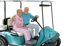 isolerade pensionärer för vagn golf royaltyfria bilder
