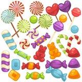 Isolerade plana symboler in för godis- och karamellsötsaker ställde vektorn vektor illustrationer