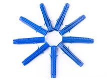 Isolerade plast- låspinnar på vit Royaltyfri Foto