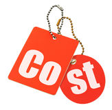 isolerade prislappar för begrepp kostnad Fotografering för Bildbyråer