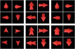 Isolerade röda pilar royaltyfria foton