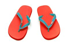 isolerade röda sandals royaltyfria bilder