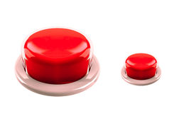 Isolerade röda stora och små knappar Arkivbild